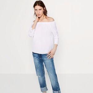 Zara Off-Shoulder Poplin Top